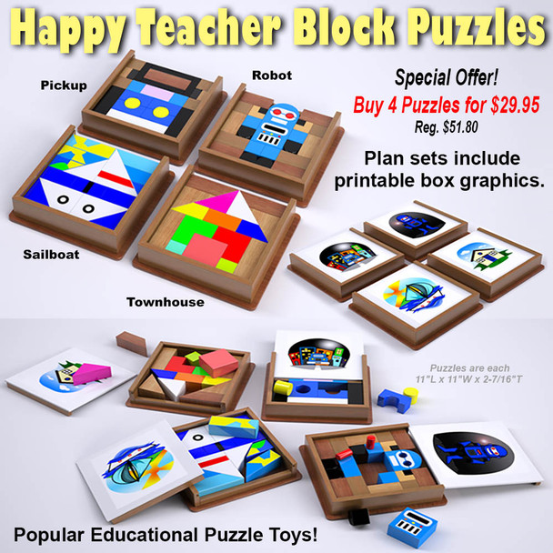 Happy Teacher Block Puzzles - Pickup - Robot - Sailboat - Townhouse (4 PDF Downloads) Wood Toy Plans