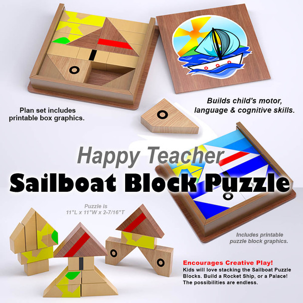 Happy Teacher Sailboat Block Puzzle (PDF Download) Wood Toy Plans