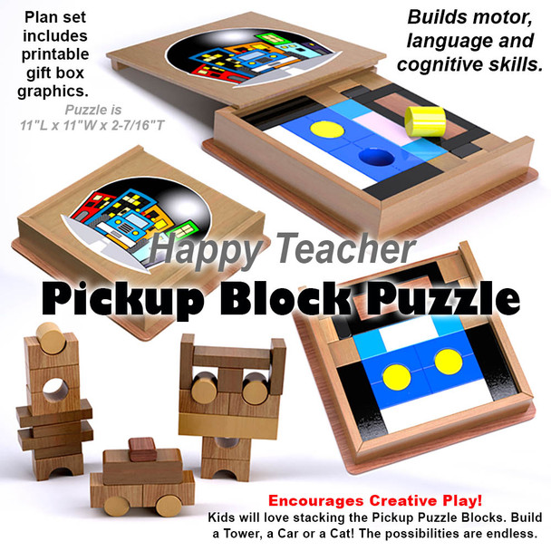 Happy Teacher Pickup Block Puzzle (PDF Download) Wood Toy Plans