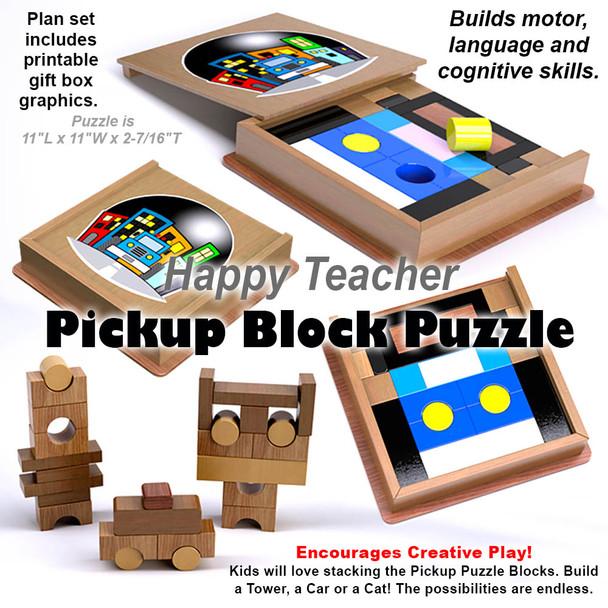 Happy Teacher Pickup Block Puzzle (PDF Download) Wood Toy Plans