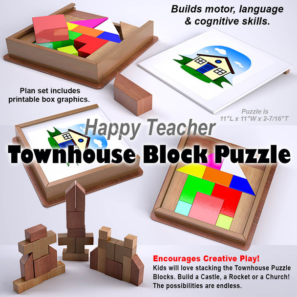 Happy Teacher Townhouse Block Puzzle (PDF Download) Wood Toy Plans