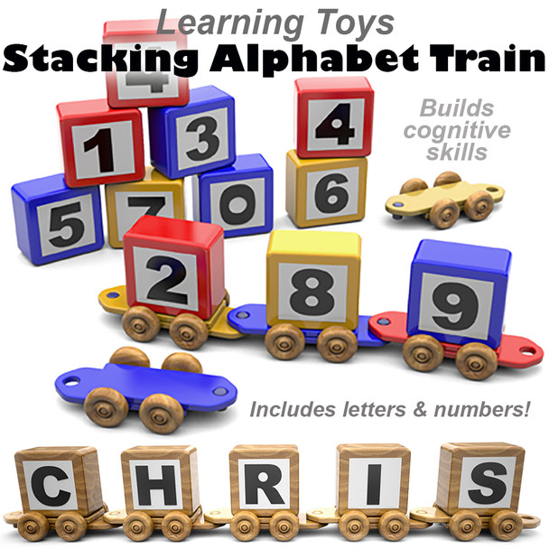 Learning Toys Stacking Alphabet Name Train (PDF Download) Wood Toy Plans