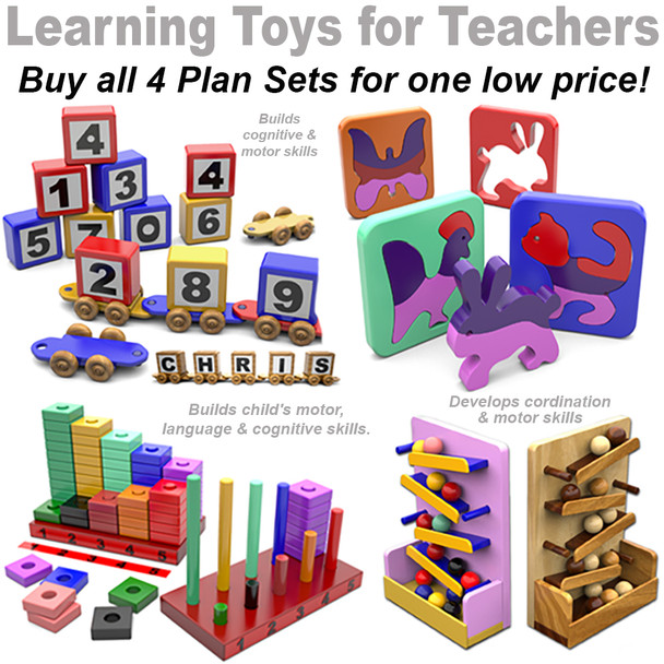 Learning Toys - Alphabet Train - Puzzle Pals - Learn Your Numbers - Marble Drop - (4 PDF Downloads) Wood Toy Plans