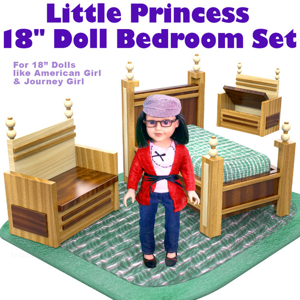 "Little Princess 18"" Doll Bedroom Set (PDF Download) Wood Toy Plans"