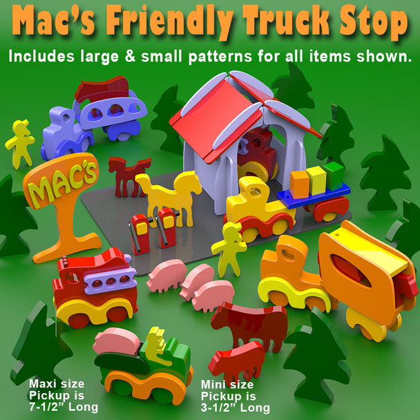 Mac's Friendly Truck Stop Mini's & Maxi's (PDF Download) Wood Toy Plans