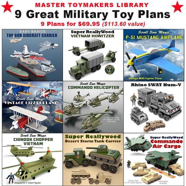 Master Toymakers Library of 9 Great Military Toy (9 PDF Downloads) Wood Toy Plans