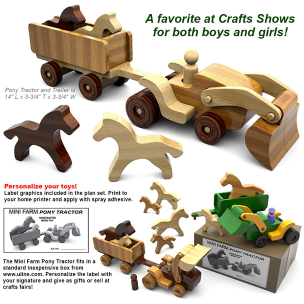 Mini Farms Pony Tractor (PDF Download) Wood Toy Plans
