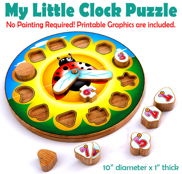 My Little Clock Puzzle (PDF Download) Wood Toy Plans