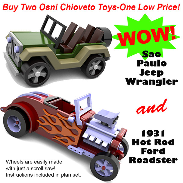 Osni's 1931 Hot Rod Ford Roadster + Osni's Sao Paulo Jeep Wrangler Wood Toy Plans (2 PDF Downloads)