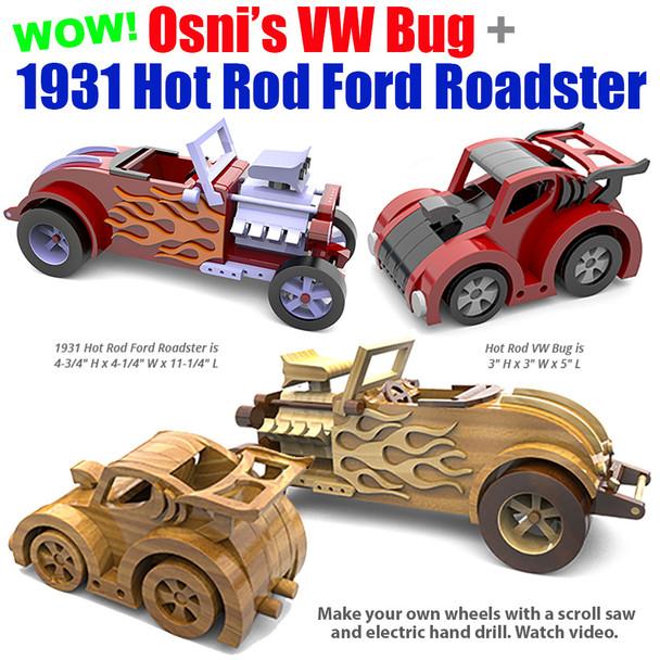 Osni's Hot Rod VW Bug + 1931 Hot Rod Ford Roadster (2 PDF Downloads) Wood Toy Plans