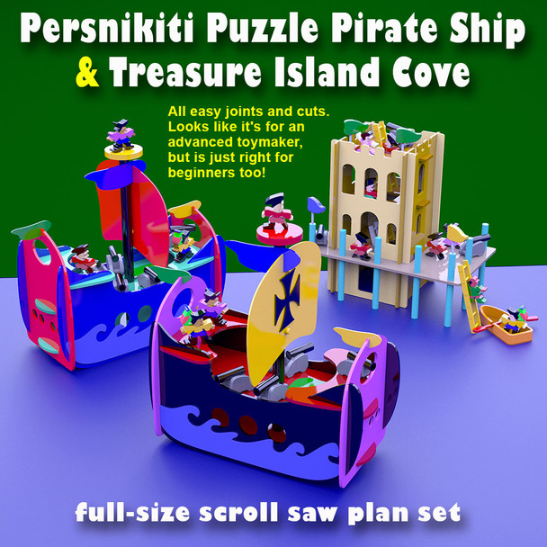 Persnikiti Puzzle Pirate Ship & Treasure Island Cove (PDF Download) Wood Toy Plans