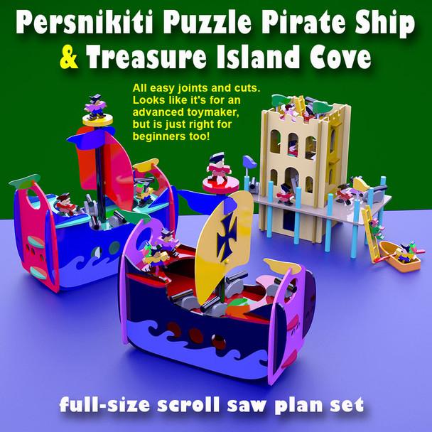 Persnikiti Puzzle Pirate Ship & Treasure Island Cove (PDF Download) Wood Toy Plans