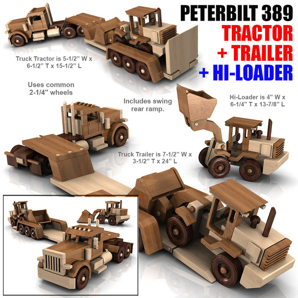 Peterbilt 389 Truck + Trailer + HiLoader (3 PDF Downloads) Wood Toy Plans