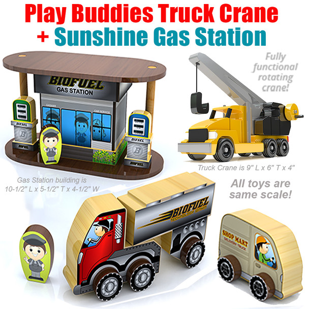 Play Buddies Truck Crane + Sunshine Village Gas Station (2 PDF Downloads) Wood Toy Plans