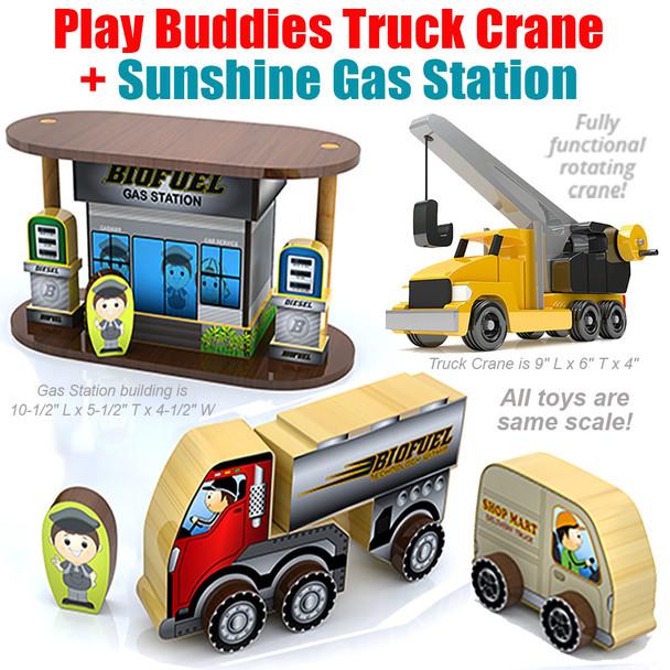 Play Buddies Truck Crane + Sunshine Village Gas Station (2 PDF Downloads) Wood Toy Plans