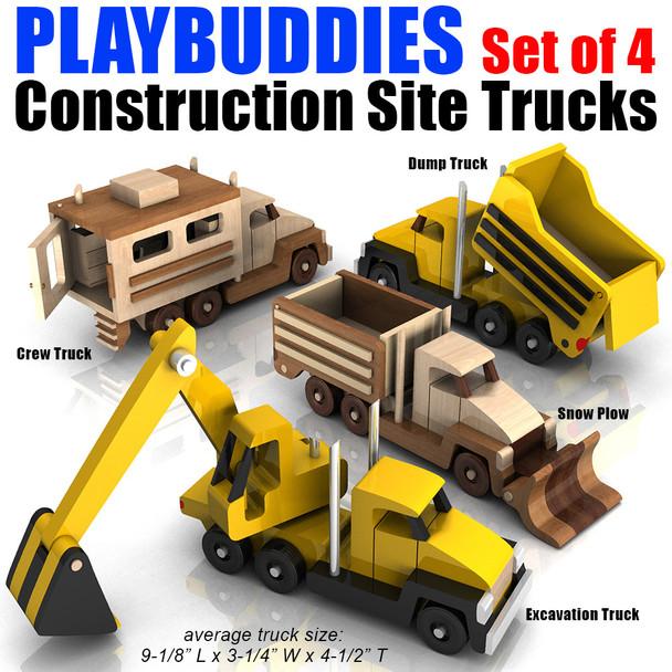 Play Buddies Set of 4 Construction Site Trucks (4 PDF Downloads) Wood Toy Plans