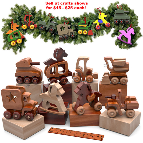 Playful Wood Toy Ornaments Mini Toys (PDF Download) Wood Toy Plans