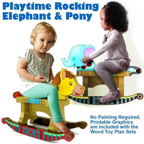 Playtime Toddler's Rocking Elephant + Rocking Pony (2 PDF Downloads) Wood Toy Plans