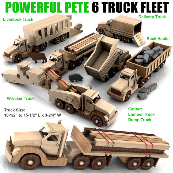 Powerful Pete 6 Truck Fleet (PDF Download) Wood Toy Plans