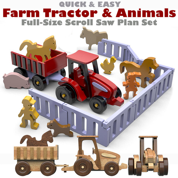 Quick & Easy Farm Tractor and Animals (PDF Download) Wood Toy Plans
