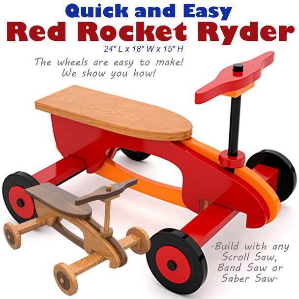 Quick & Easy Red Rocket Ryder (PDF Download) Wood Toy Plans