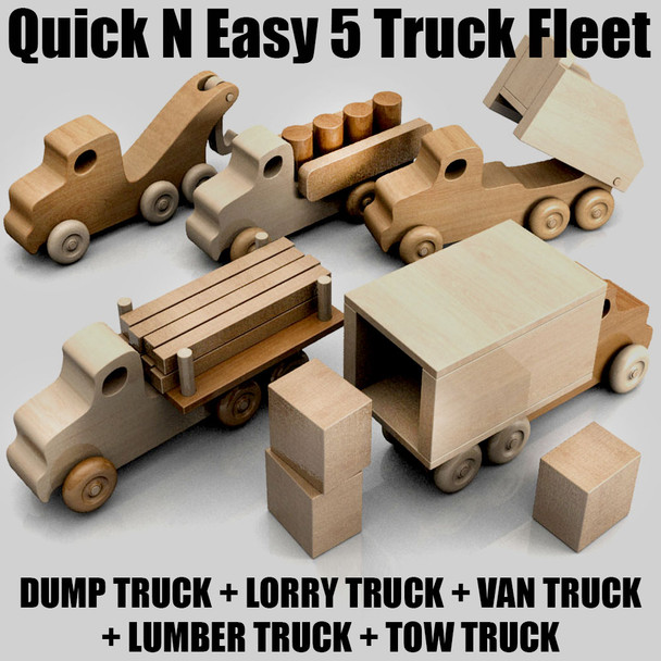 Quick & Easy 5 Truck Fleet (PDF Download) Wood Toy Plans