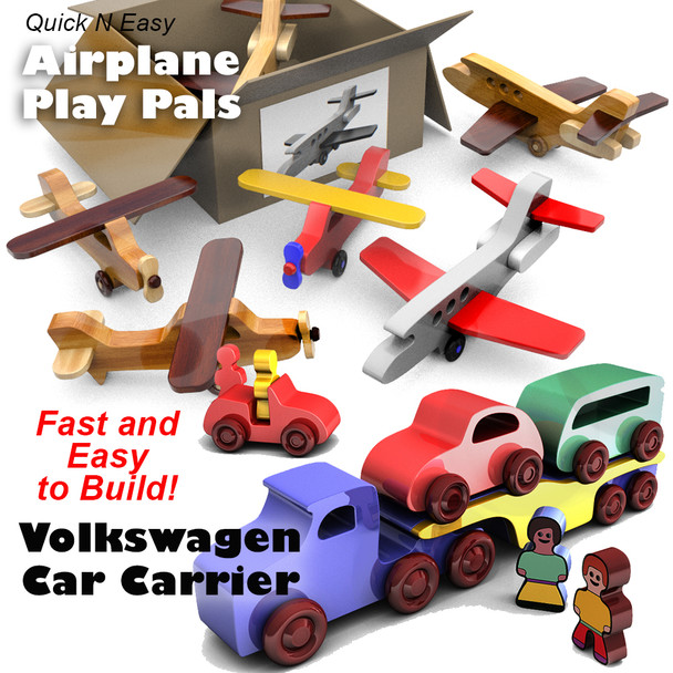 Quick & Easy Airplane Play Pals + Volkswagen Car Carrier (2 PDF Downloads) Wood Toy Plans