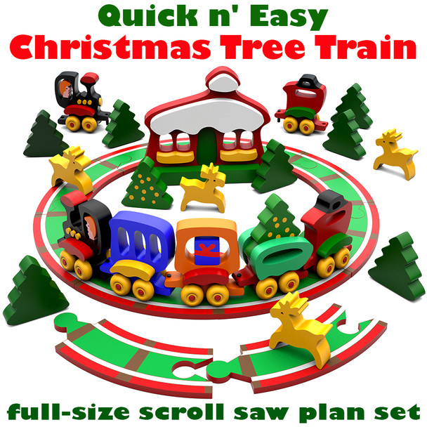 Quick & Easy Christmas Tree Train (PDF Download) Wood Toy Plans