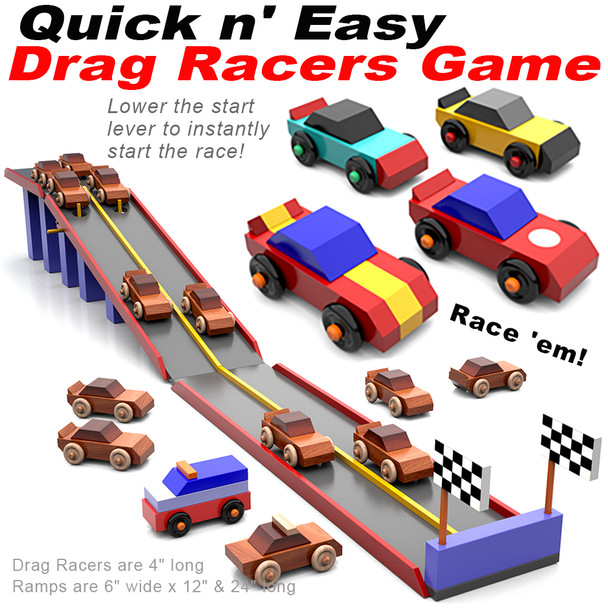 Quick & Easy Drag Racers Game (PDF Download) Wood Toy Plans