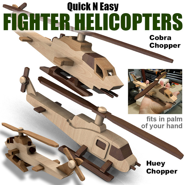 Quick & Easy Fighter Helicopters (2 PDF Downloads) Wood Toy Plans