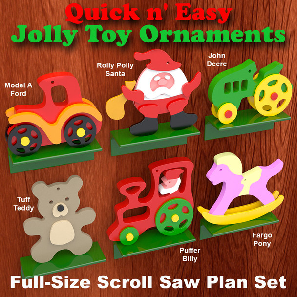 Quick & Easy Jolly Toy Ornaments (PDF Download) Wood Toy Plans