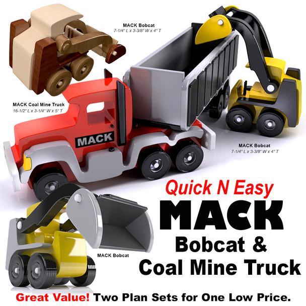 Quick & Easy MACK Bobcat + Coal Mine Truck (2 PDF Downloads) Wood Toy Plans