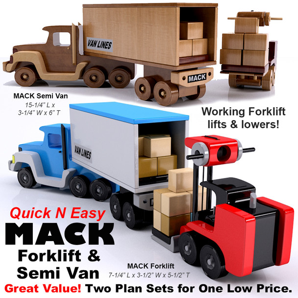 Quick & Easy MACK Forklift + Semi Van (2 PDF Downloads) Wood Toy Plans