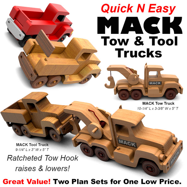 Quick & Easy MACK Tool & Tow Trucks (2 PDF Downloads) Wood Toy Plans