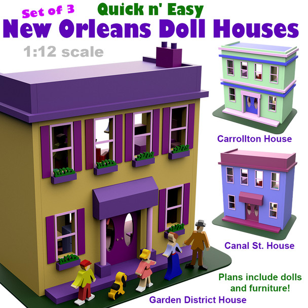 Quick & Easy New Orleans Doll Houses - Set of 3 (PDF Download) Wood Toy Plans