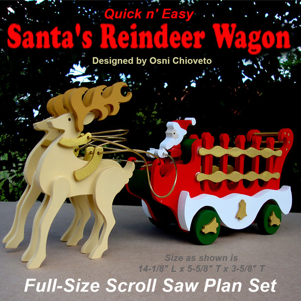 Quick & Easy Santa's Reindeer Wagon (PDF Download) Wood Toy Plans