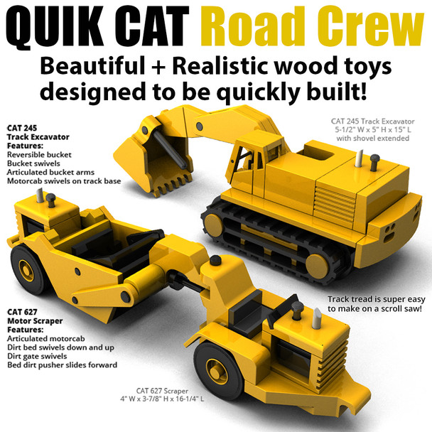 Quik CAT Road Crew (2 PDF Downloads) Wood Toy Plans
