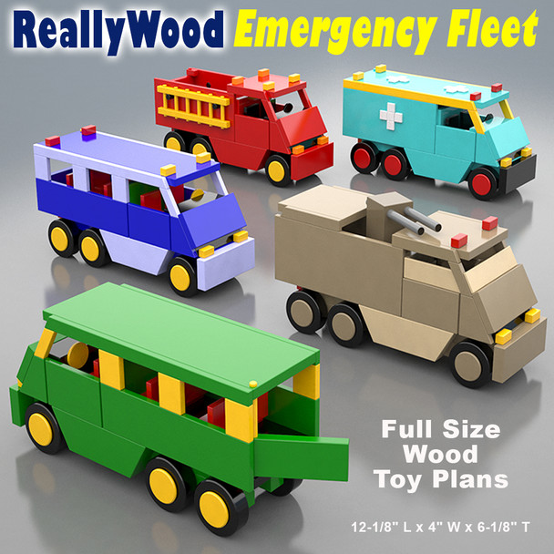 ReallyWood Emergency Fleet (PDF Download) Wood Toy Plans