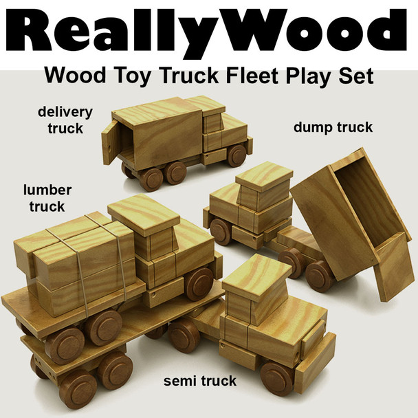 ReallyWood Fleet of 4 Trucks (PDF Download) Wood Toy Plans