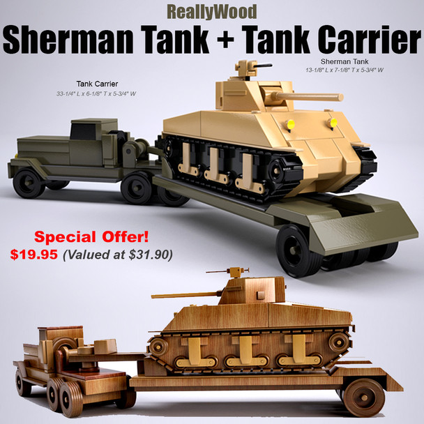 ReallyWood Sherman Tank + Tank Carrier (2 PDF Downloads) Wood Toy Plans