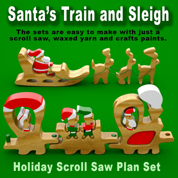 Santa's Train & Sleigh (PDF Download) Wood Toy Plans