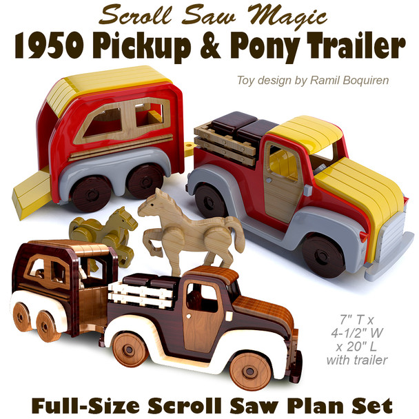 Scroll Saw Magic 1950 Pickup & Pony Trailer (PDF Download) Wood Toy Plans
