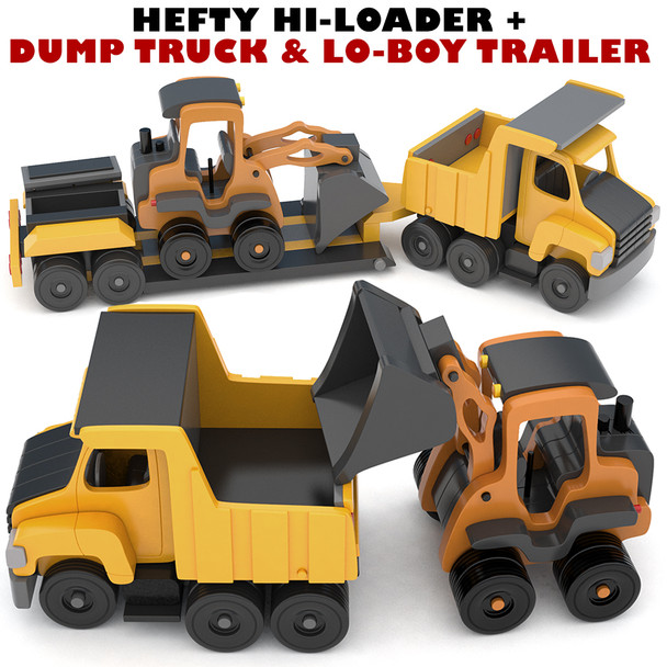 Scroll Saw Magic Hefty Hi-Loader + Hefty Dump Truck & Lo-Boy Trailer (2 PDF Downloads) Wood Toy Plans