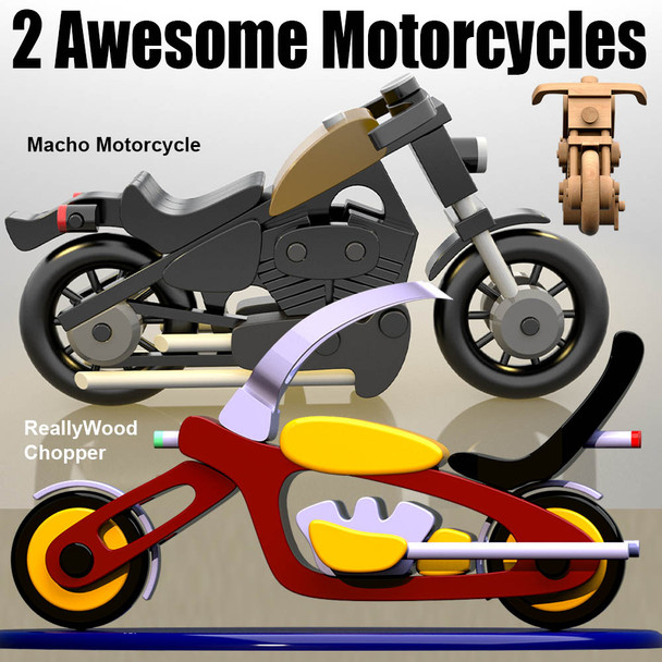 Scroll Saw Magic Macho Motorcycle + Reallywood Chopper (2 PDF Downloads) Wood Toy Plans