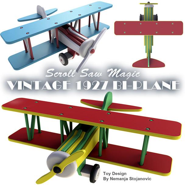 Scroll Saw Magic Vintage 1927 Bi-Plane (PDF Download) Wood Toy Plans