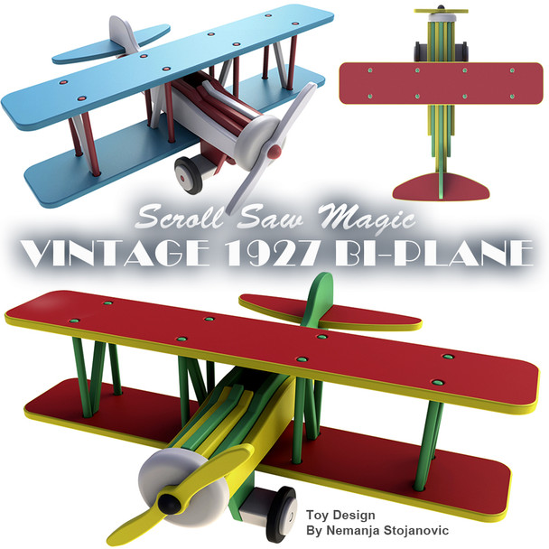 Scroll Saw Magic Vintage 1927 Bi-Plane (PDF Download) Wood Toy Plans