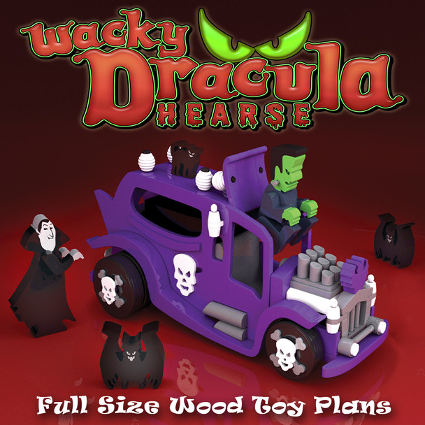 Scroll Saw Magic Wacky Dracula Hearse (PDF Download) Wood Toy Plans