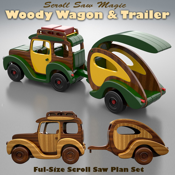 Scroll Saw Magic Woody Wagon & Trailer (PDF Download) Wood Toy Plans