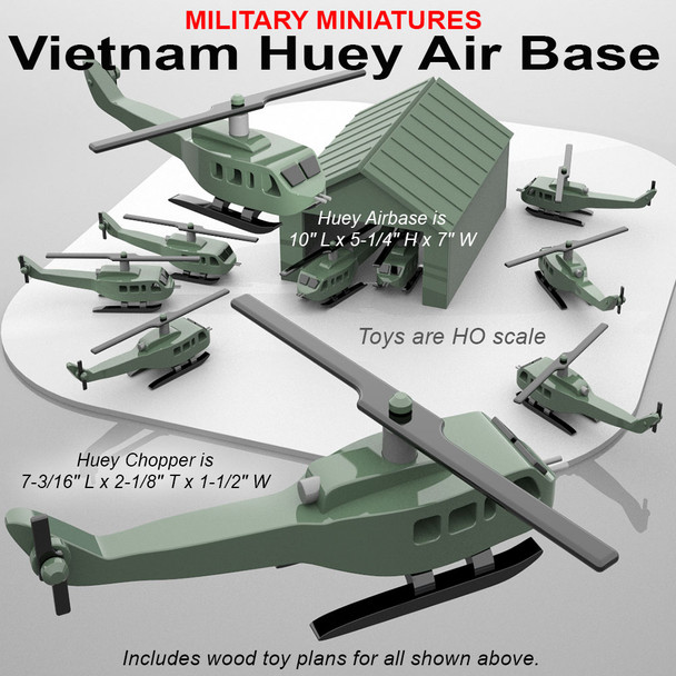 Military Miniatures Vietnam Huey Air Base (PDF Download) Wood Toy Plans