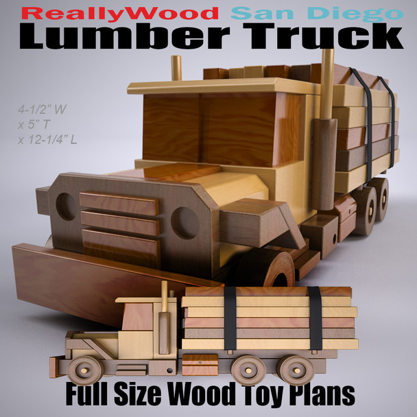 ReallyWood San Diego Lumber Truck (PDF Download) Wood Toy Plans